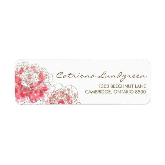 Pink Watercolor Peonies Chic Return Address Labels