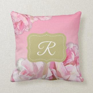 Pink Watercolor Peonies Cushion