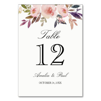 Pink Watercolor Peonies Wedding Table Number Cards