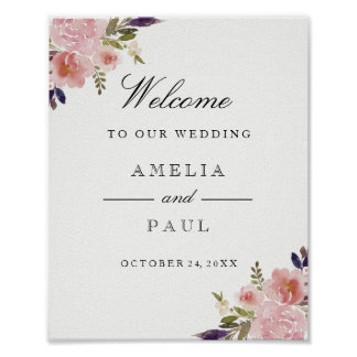 Pink Watercolor Peonies Welcome Wedding Sign