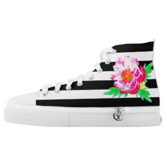 Pink Watercolor Peony On Black&White Shoes