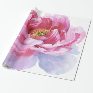 Pink Watercolor Peony Wrapping Paper