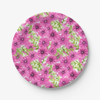 Pink watercolor petunia flower pattern 7 inch paper plate