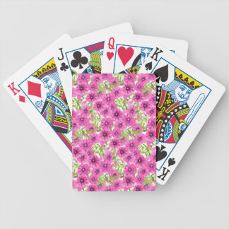 Pink watercolor petunia flower pattern bicycle playing cards
