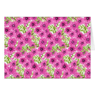 Pink watercolor petunia flower pattern card