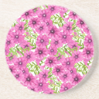 Pink watercolor petunia flower pattern coaster
