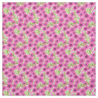 Pink watercolor petunia flower pattern fabric