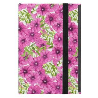 Pink watercolor petunia flower pattern iPad mini case