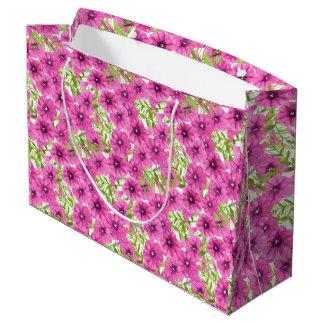 Pink watercolor petunia flower pattern large gift bag