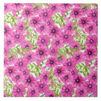 Pink watercolor petunia flower pattern large square tile
