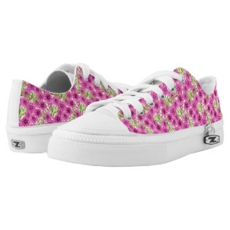 Pink watercolor petunia flower pattern low tops