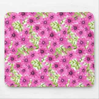Pink watercolor petunia flower pattern mouse pad