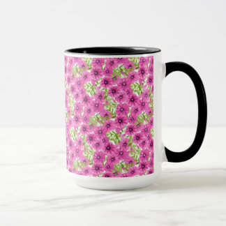 Pink watercolor petunia flower pattern mug