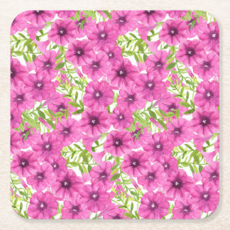 Pink watercolor petunia flower pattern square paper coaster