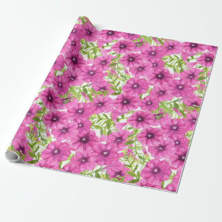 Pink watercolor petunia flower pattern wrapping paper