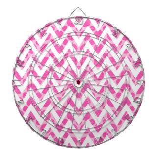 Pink watercolor  polka dots chevron pattern dartboard with darts