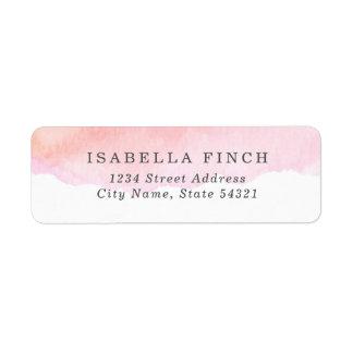 Pink Watercolor Return Address Label
