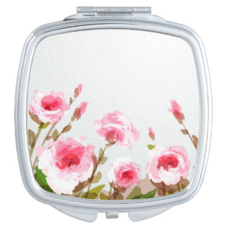 pink watercolor rose floral boho bloom travel mirrors