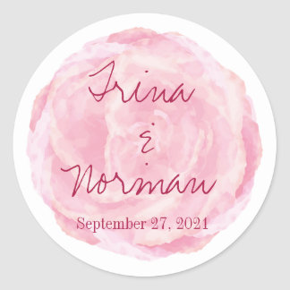 Pink Watercolor Rose Wedding Stickers