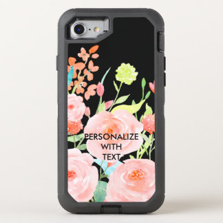 Pink Watercolor Roses OtterBox Defender iPhone 7 Case