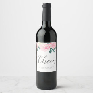 Pink Watercolor Roses Spring Wedding Wine Label