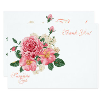 Pink Watercolor Roses Wedding Thank You Card