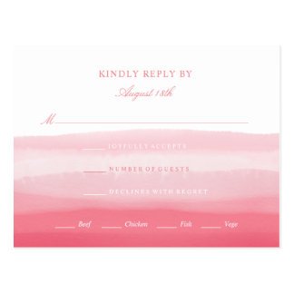 Pink Watercolor Rsvp Response Card Wedding Event