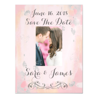 Pink Watercolor Save the Date Magnetic Invitations