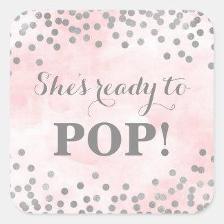 Pink Watercolor Silver Confetti She's Ready to Pop Square Sticker