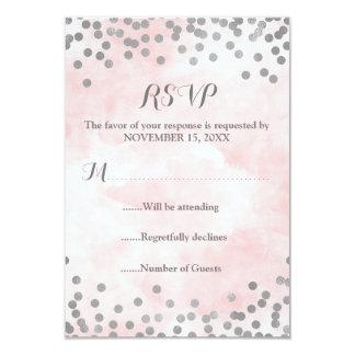 Pink Watercolor Silver Confetti Wedding RSVP Card