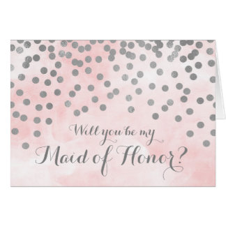 Pink Watercolor Silver Dots Maid of Honour Invite Card