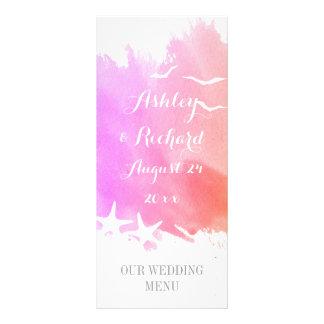 Pink watercolor, starfish beach wedding menu