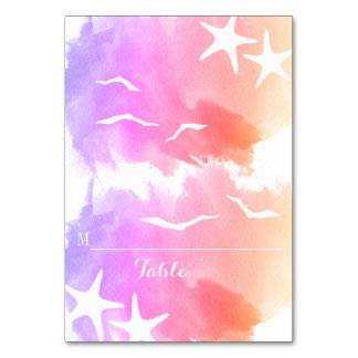 Pink watercolor starfish summer wedding place card