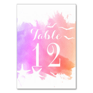 Pink watercolor, starfish wedding table number