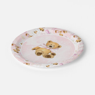 Pink Watercolor Strips and Brown Teddy Bear Paper Plate