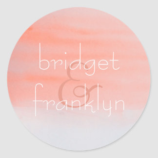 Pink Watercolor Swash Wedding Classic Round Sticker