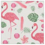 Pink watercolor tropical elegant flamingo floral fabric