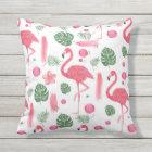 Pink watercolor tropical elegant flamingo floral outdoor cushion