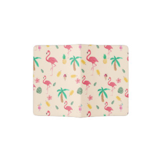 Pink watercolor tropical flamingo summer pattern passport holder