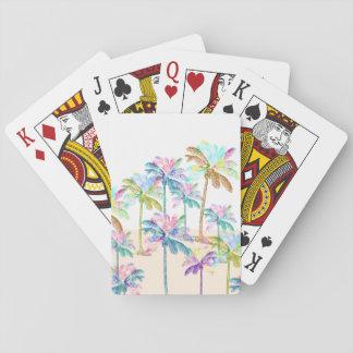 Pink Watercolor Tropical Hawaiian Palm Trees Playing Cards