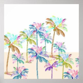 Pink Watercolor Tropical Hawaiian Palm Trees Poster