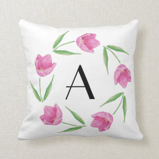 Pink Watercolor Tulips Framing Initial Throw Pillow