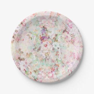 Pink watercolor vintage flowers pattern 7 inch paper plate