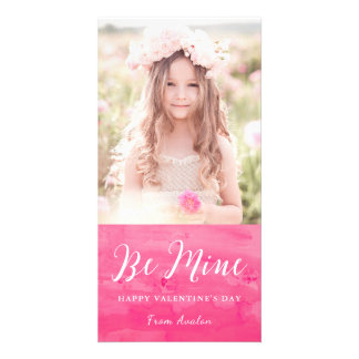 Pink Watercolor Wash Valentine's Day Photo Card