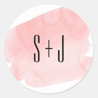 Pink Watercolor Wash Wedding Sticker