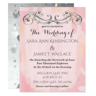 Pink Watercolor Wedding Card