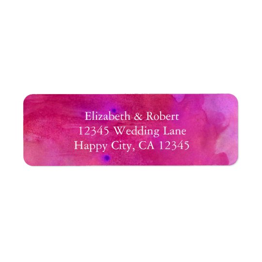 Pink Watercolor Wedding Return Address Label