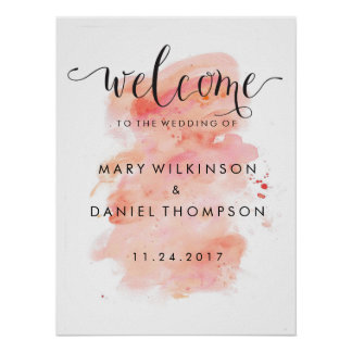 Pink Watercolor Wedding Welcome Poster