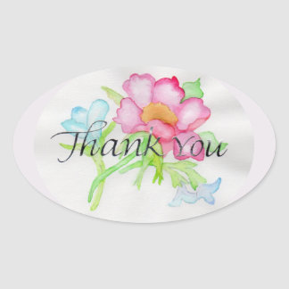 Pink Watercolor Wild Rose Mini Floral Bouquet TY Oval Sticker