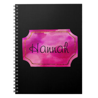 Pink Watercolor with Gold Border Spiral Note Book